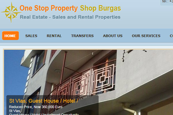 Уеб сайт One Stop Property Shop Burgas